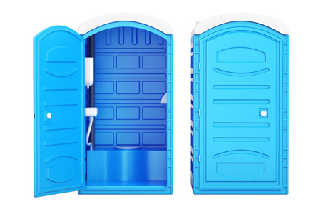 Opened and closed mobile portable blue plastic toilets, 3D rendering Imagens