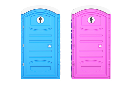 Portable blue men and pink women toilets, 3D rendering isolated on white background Stock Photo