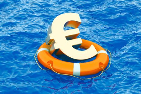 Lifebuoy with golden euro symbol on the open sea, 3D rendering