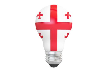 on the comprehension: Light bulb with Georgia flag, 3D rendering isolated on white background