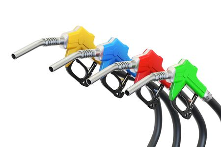 set of colored fuel pump nozzles, 3D rendering isolated on white background Stock Photo