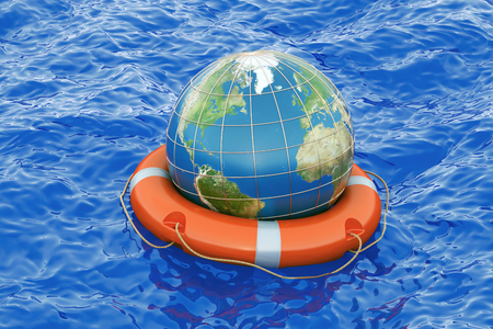 sea pollution: Earth globe with lifebuoy on the open sea. Save the world concept, 3D rendering Stock Photo
