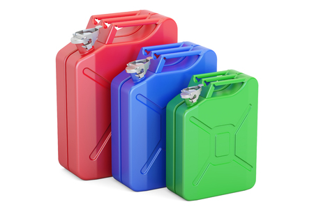 gas can: set of colored steel jerrycans, 3D rendering isolated on white background