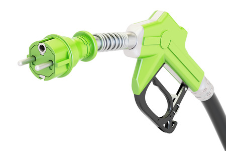 Electric car charging  concept. Gas pump nozzle with electrical plug, 3D rendering isolated on white background