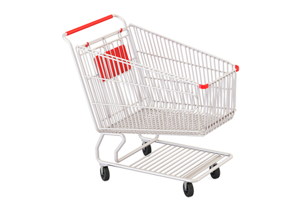 empty shopping cart, 3D rendering isolated on white background