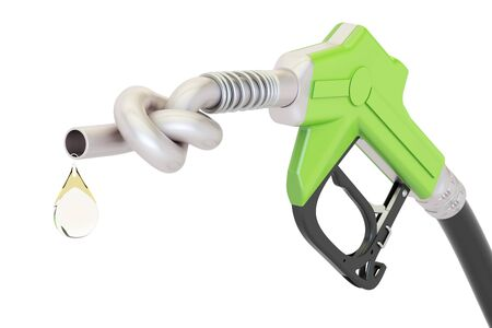 Energy crisis concept. Gas pump nozzle tied in a knot, 3D rendering isolated on white background