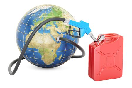 Fuel pump nozzle connected with Earth and jerrycan, 3D rendering isolated on white background