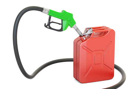 gas pump nozzle with jerrycan, 3D rendering isolated on white background Stock Photo