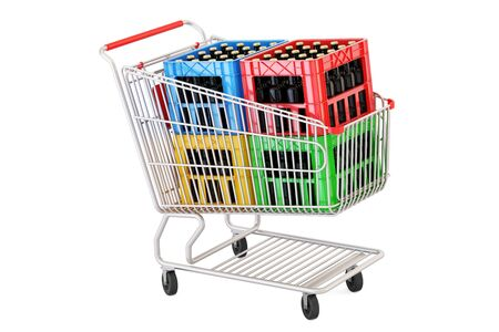 shopping cart with crates beer, 3D rendering isolated on white background