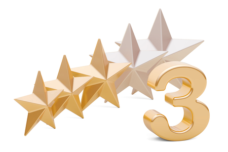 3 stars rating concept, 3D rendering isolated on white background