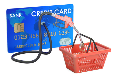 Credit card with fuel pump nozzle and shopping basket, 3D rendering