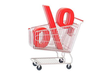 Discount concept, red percent sign in the shopping cart. 3D rendering isolated on white background Stock Photo