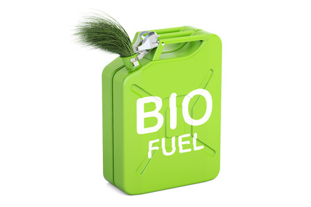 jerrycan with bio fuel, 3D rendering isolated on white background