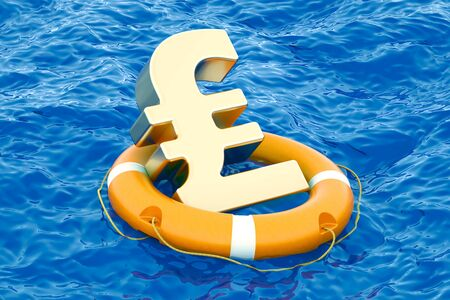 Lifebuoy with golden pound sterling symbol on the open sea, 3D rendering