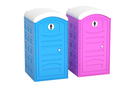 Portable blue and pink toilets, 3D rendering isolated on white background