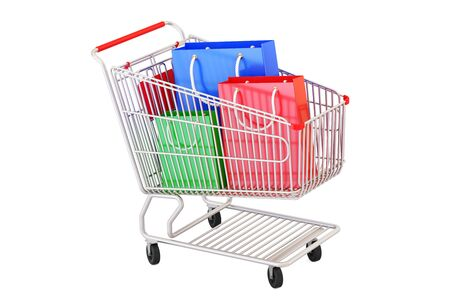Shopping cart with shopping bags, 3D rendering  isolated on white background