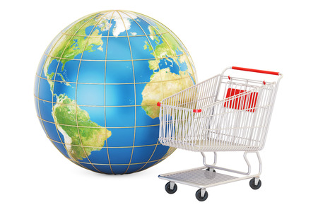Shopping basket with Earth globe, online shopping concept isolated on white background