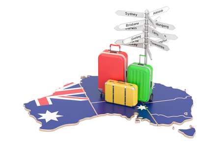 melbourne australia: Australia travel concept. Australian flag on map with suitcases and signpost, 3D rendering