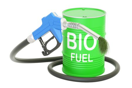 barrel with bio fuel and gas pump nozzle, 3D rendering Stock Photo