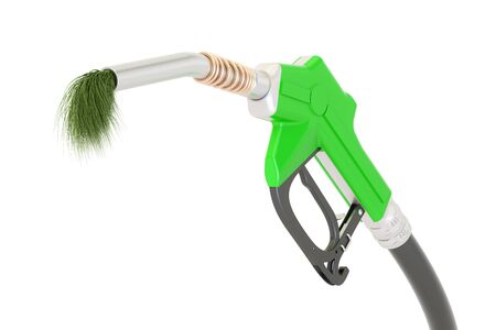 bio fuel concept, gas pump nozzle with green grass, 3D rendering isolated on white background