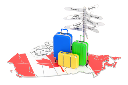 Canada travel concept. Canadian flag on map with suitcases and signpost, 3D rendering Stock Photo