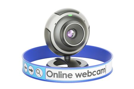 Internet communication concept, webcam online. 3D rendering isolated on white background