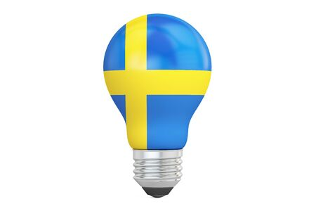 on the comprehension: Light bulb with Sweden flag, 3D rendering isolated on white background