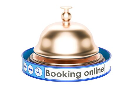 Online booking concept with reception bell, 3D rendering isolated on white background
