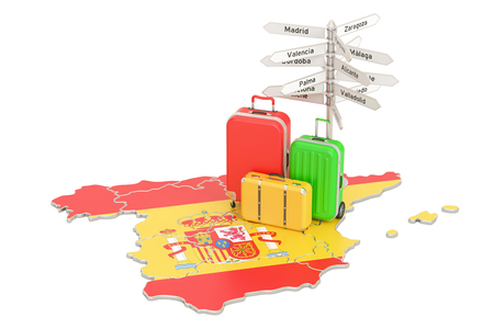 Spain travel concept. Spanish flag on map with suitcases and signpost, 3D rendering