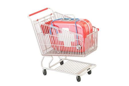 emergency cart: First aid kit in the shopping cart, 3D rendering
