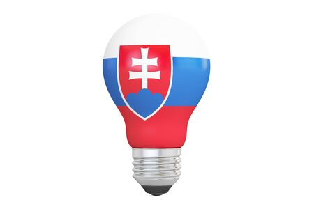 Light bulb with Slovakia flag, 3D rendering isolated on white background Stock Photo