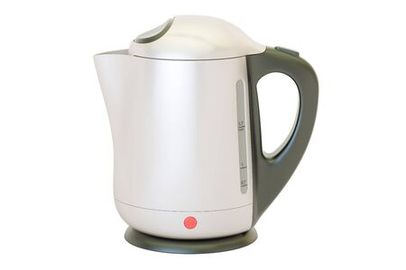 metallic electric kettle, 3D rendering isolated on white background