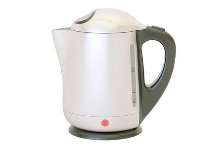 Metallischer Wasserkocher, Wiedergabe 3D lokalisiert auf weißem Hintergrund Standard-Bild - 81045481