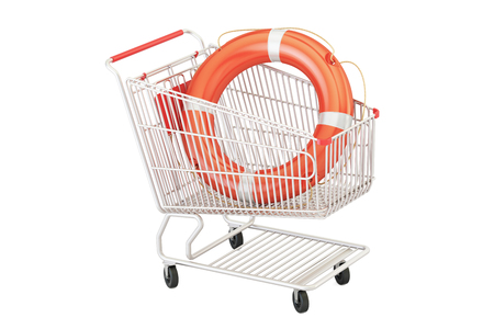 Shopping cart with lifebuoy, safe shopping concept. 3D rendering