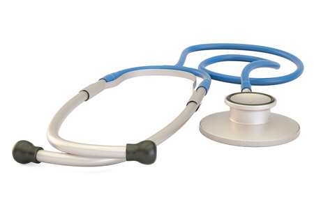 Stethoscope closeup, 3D rendering isolated on white background
