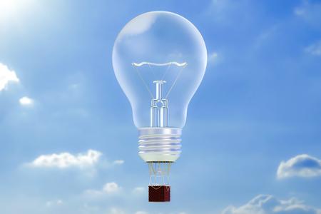 Business concept. Hot air balloon lightbulb, aerostat in the blue sky. 3D rendering Stock Photo