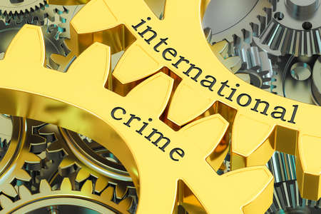 international crime concept on the gearwheels, 3D rendering Stock Photo