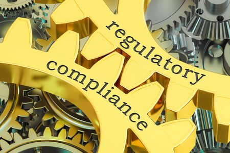 regulatory compliance concept on the gearwheels, 3D rendering Standard-Bild