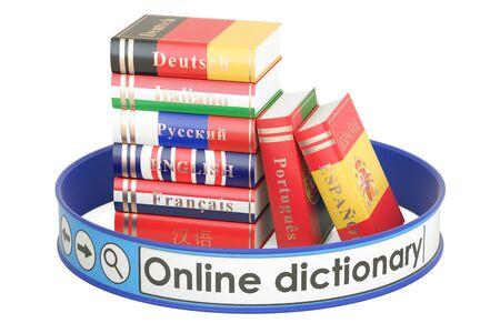 Online Woordenboekconcept, het 3D teruggeven op witte achtergrond wordt geïsoleerd die
