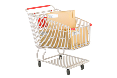 Shopping cart with parcels, order and delivery concept. 3D rendering isolated on white background Stock Photo