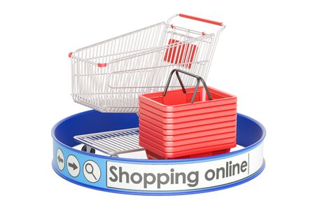 shopping online, e-shopping concept, 3D rendering isolated on white background