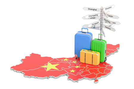 China travel concept. Chinese flag on map with suitcases and signpost, 3D rendering