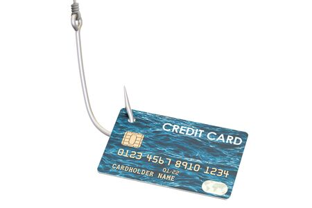 Credit card on the hook, phishing concept. 3D rendering isolated on white background