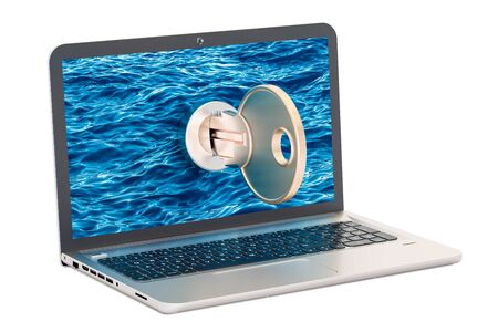 laptop repair: Laptop with key, security and protection concept. 3D rendering isolated on white background Stock Photo