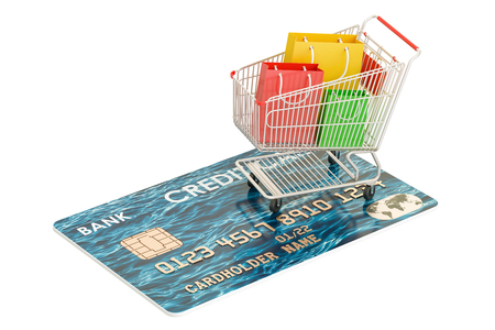 paying: Shopping concept. Credit card and shopping cart with shopping bags, 3D rendering