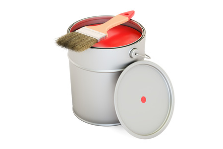 Can with red paint and brush, 3D rendering