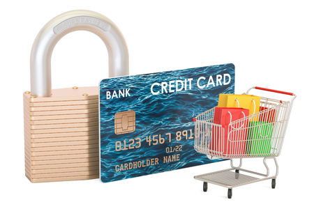 paying: Safe shopping concept, 3D rendering isolated on white background Stock Photo