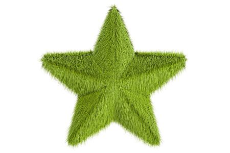 Star from grass, 3D rendering isolated on white background Stock Photo