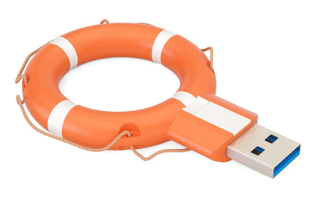 USB flash drive with lifebuoy, safety and security concept. 3D rendering