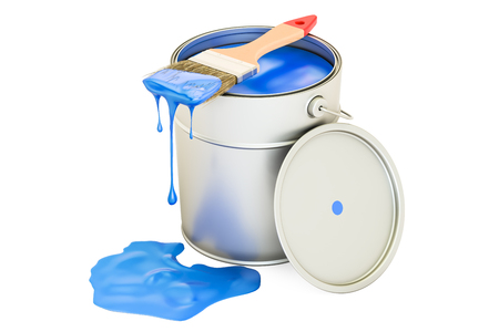 ink pot: Can with blue paint and brush, 3D rendering Stock Photo
